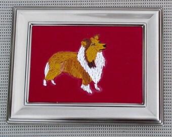 Sheltie Dog Portrait, Hand Embroidered, Framed