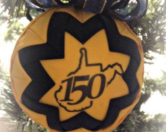 150th Birthday WV Mountaineers Handmade QUILTED ORNAMENT 2013 (Ready to Ship)