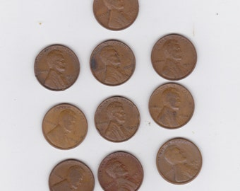 lot of 10 assorted Lincoln wheat pennies 1919 to 1939