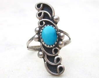 Vintage Sleeping Beauty turquoise ring, sterling silver turquoise ring, swirl design long Southwestern ring, Native American, boho, US 7.5