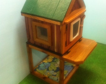 Ultimate Outdoor Heated Cedar Cat House with Stand, bed, shelter, bed, condo