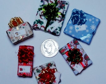 Six Assorted Miniature Christmas Packages set XP123