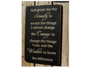 God grant me the serenity... vertical primitive wood sign