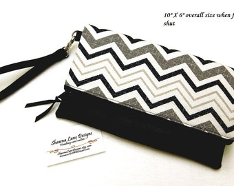 women's gifts, foldover clutch, wristlet, black and white chevron handbag, faux leather, ready to ship gift, women's accessory, purse