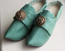Antique Satin Leather Miniature Shoes - Doll, Display, Antique, Button, Sample, Miniature