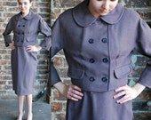 1960's Purple Wool Skirt Suit, Cropped Jacket, Tailored by Glenhaven, fully lined, xs small, petite woman, teen, ladies