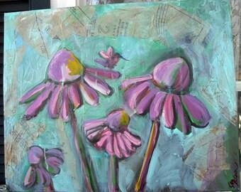 Original art mixed media Coneflowers painting