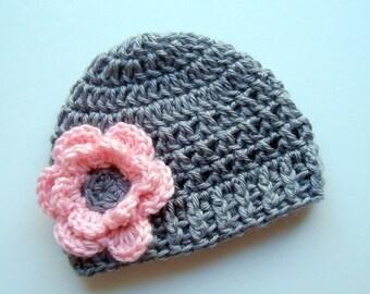 ON SALE Crochet Baby Hat,  Newborn Crochet, Toddler Crochet Hat, Baby Girl, Infant Winter Hat, Gray and Pink Hat, Baby Girl, Crochet Hat for