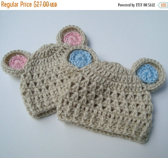 ON SALE Crochet baby Hat with Ears, Newborn Baby Hats, Animal Hat with Ears, Set of Two, Oatmeal and Pink, Oatmeal and Blue, MADE To Order
