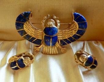 18K Gold Lapis Scarab Brooch Pendant Earring Set Egyptian Revival Cairo Assay Mark