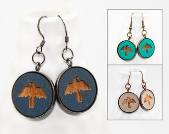 Crow Dangle Earrings - Laser Engraved Wood (Choose Your Color)