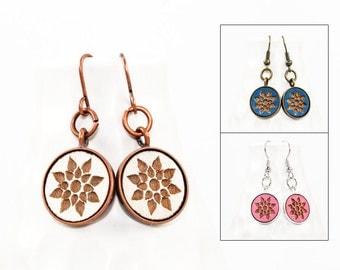 Geometric Floral Design - Dangle Earrings - Laser Engraved Wood (Choose Your Color)