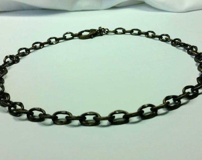 Antique Brass Oval Link Matt Finish Unisex Chain Necklace