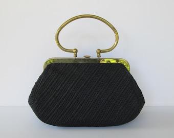 MM Morris Moskowitz Black Straw Handbag