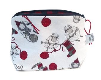 Zippered NOTIONS BAG with zipper pull -  Wooly Gifts For Ewe