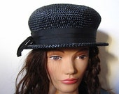 Reserve for KJOHNSON Vintage 60s Marshall Fields Black Straw Hat with Ribbon Size 23