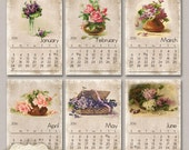 NEW - Printable 2016 Calendar - Vintage Roses and Flowers - INSTANT DOWNLOAD