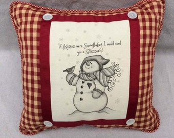 Snowman Pillow | French Country Decor | Farmhouse Decor | Linen Print | Handmade throw pillow | Snowman on Linen, Country Checks and Ticking