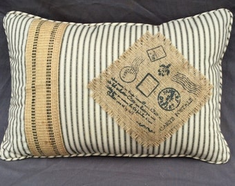 Back Ticking and Burlap Handmade Pillow with Stenciled Burlap Panel and French Burlap Strapping