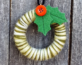 Rescued Mini Wool Wreath Ornament - Mixed Greens with Holly