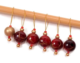 Beaded Stitch Markers Snag Free Burgundy Gold Snagless DIY Knitting Supplies Gift for Knitter