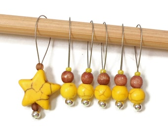 Yellow Star Knitting Stitch Markers Beaded  Snagless Snag Free Knitting Markers