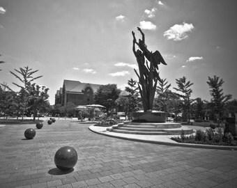 Black and White Downtown Birmingham, Michigan Metallic Print