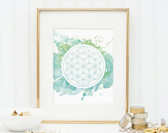 Sacred Geometry - Flower of Life - Watercolor