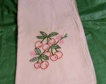 Hand Embroidered Dish Towels, Red Cherries, Dish Towel with Embroidery, Kitchen Dish Towel, Retro Kitchen