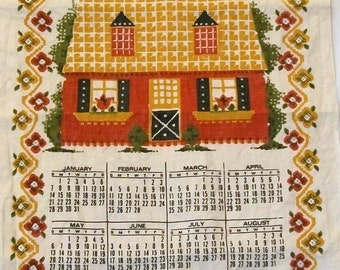 Vintage Tea Towel, 1973 Calendar Tea Towel, Bless This House, Vintage Tea Towel Calendar, Vintage Kitchen
