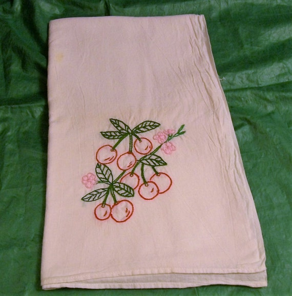 Hand Embroidered Dish Towels Red Cherries Dish Towel With