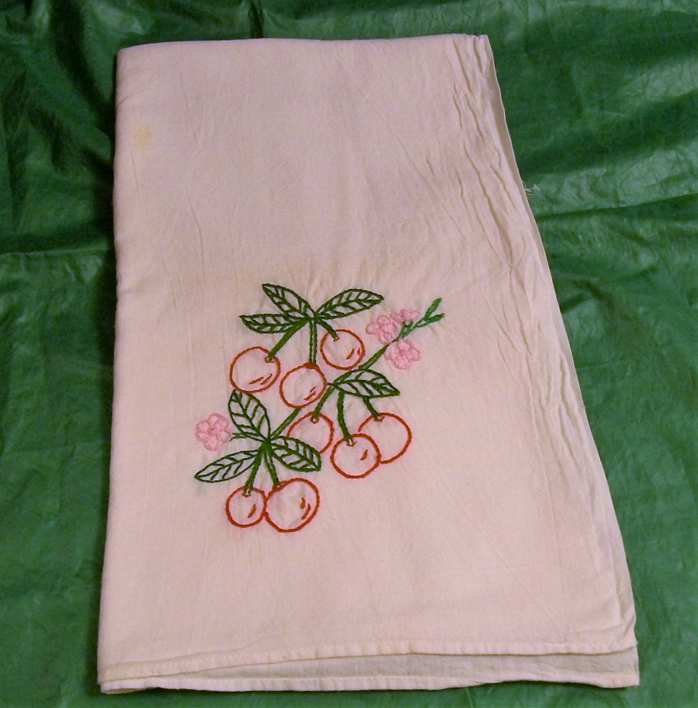 Embroidered Towels Custom: Hand Embroidered Dish Towels Red Cherries Dish Towel With
