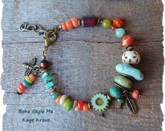 Bohemian Jewelry, Boho Colorful Bracelet, Turquoise Jewelry, Nature Girl, Rustic Earthy Tribal, Boho Style Me, Kaye Kraus