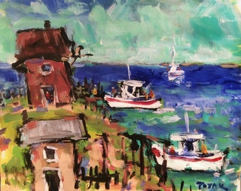Original seascape painting, impressionist art, acrylic ocean and seaside fishing cove and boats, Russ Potak
