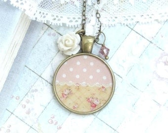 Pink Rose Necklace Polka Dot Necklace Shabby Chic Necklace Pink Flower Necklace Vintage Style Necklace