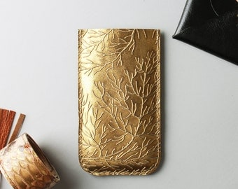 Iphone 7 or iPhone 6 leather case in gold colour - iPhone 7 sleeve, gift for her, gift under 30, gold succulent