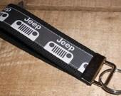Jeep on Black Key Fob Keychain Wristlet