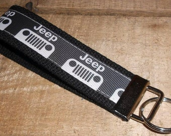 Jeep on Black Key Fob Keychain Wristlet