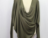 Woman clothing, multi way top, versatile cardigan, 7 in 1, long sleeves top, one size, khaki green, 100% cashmere