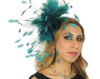 Eagle - Teal Fascinator Hat for Kentucky Derby, Weddings and Christmas Parties on a Headband