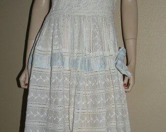 1950s White Embroidered Eyelet and Blue Ribbon Sundress Small