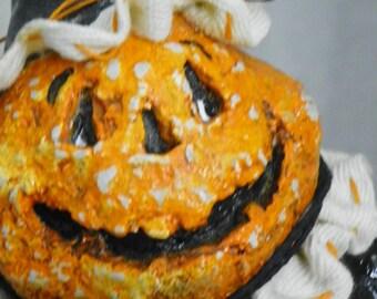 Sculpted Paper Mache Folk Art Vintage Halloween Jack Pumpkin