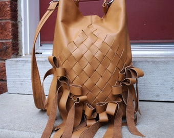 Leather bag with ribboned bows fringe & weaved, large tan 3 way purse one of a kind