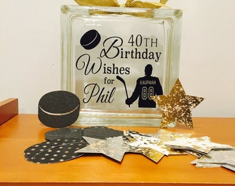 40th Birthday Wish Block - Wish Jar - Hockey Themed or choose your sport! Unique Guest Book for a Birthday Party