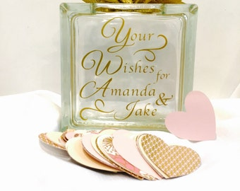Unique Guest Book for Wedding, Birthday Party, Anniversary, Baby Shower - Glass Block personalized ! Your Wishes for... Blush Gold Ivory