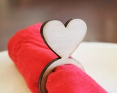 Heart Wood Napkin Rings, Valentine's Day, Laser Cut Set of 4, 8, 12