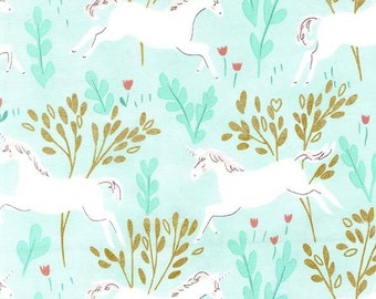 Magic Unicorn Forest  with Cotton Metallic Aqua Sarah Jane Michael Miller Fabric by the Half Yard