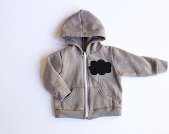baby hoodie, baby boy, baby girl, The Little Black Raincloud, baby rain cloud hoodie, baby shower gift, pacific northwest, black raincloud