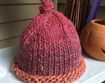 Hand Knit Child's Hat-Burgandy Multi colored tweed wool- Infant hat