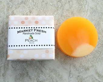 Peach Market Fresh Handmade Soap, Gentle soap recipe, round soap, realistic fruit fragrance